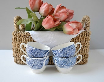 Liberty Blue teacups, set of 4; Staffordshire ironstone teacups; blue and white vintage teacups