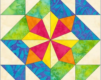 Windmill 2 - 15 inch Paper Template Quilting Block Pattern PDF