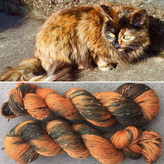 Tortoiseshell Donegal Sock, cat inspired 4ply fingering superwash merino yarn with neps