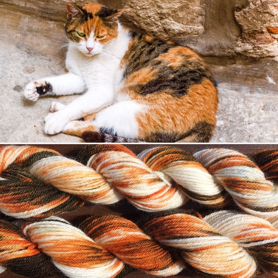 Calico Cat 100g, 4ply fingering superwash merino nylon blend indie sock yarn