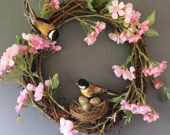 Spring wreath, Country wreath, Bird wreath, Catkins, spring blossom, Door wreath, Door decor, Natural wreath, pink wreath