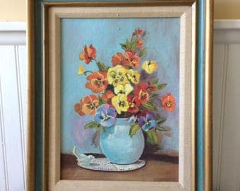 Vintage Floral Still Life Painting, Aqua/Gold Ornate Frame, Pansies, French Country, Cottage, Shabby Chic, Statement Wall Decor