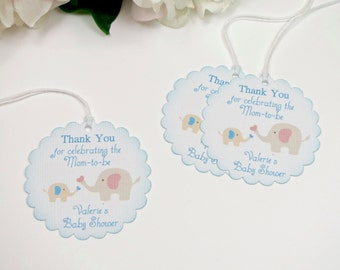 Boy Baby Shower Favor Tags, Elephant Baby Shower Tags, Blue Baby Shower  Gift Tags