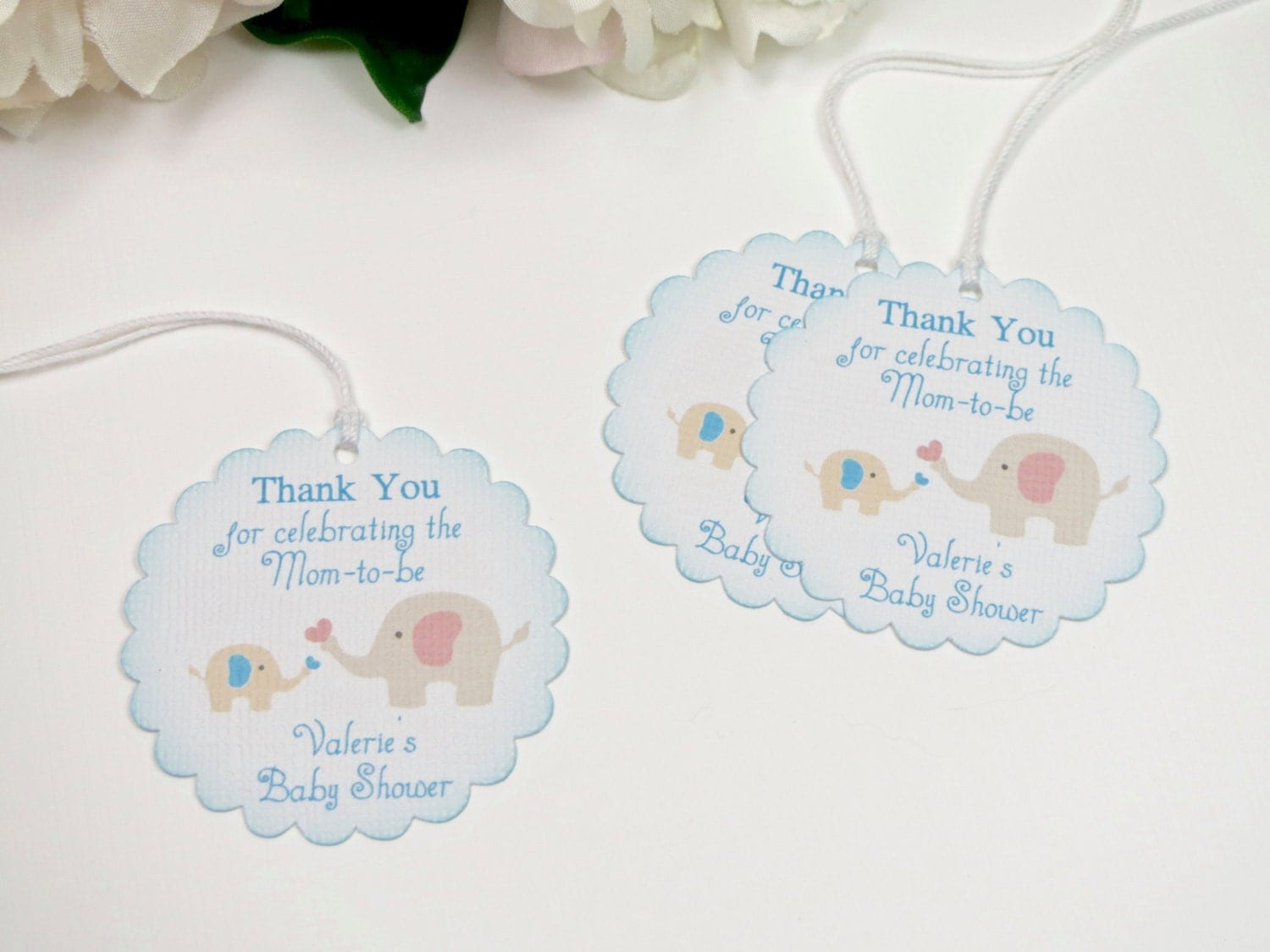 Boy baby shower favor tags elephant baby shower tags blue for Shower favor tag