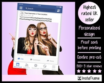 Large/Medium personalised Facebook photo booth prop frame! Perfect for Weddings, Birthdays, Business Exhibitions and any other event!