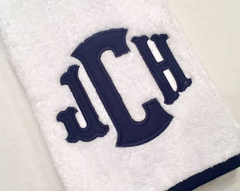 Personalized Towel Set, Applique Monogrammed Towels, Terry Bath or Hand Towel Monogram, Fabric Monogram Towels Matching Trim, Wedding Gift