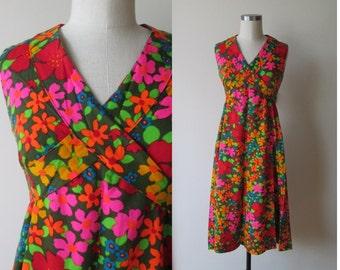 60's-70's Mod dress neon flower power dress size 8-10