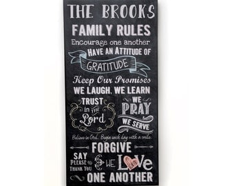 Family Rules Wood Sign Personalized Custom Subway Art