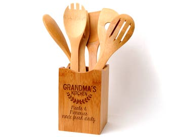 Bamboo Kitchen Utensil Holder Personalized Gift For Grandma