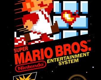 NES Super Mario Bros. Game Box Cover Art Print (11 x 17)