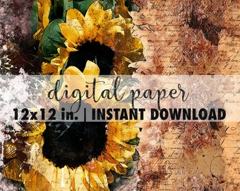 12x12 digital paper, premade scrapbook pages, 12x12 art print, scrapbook vintage floral paper, scrapbook background download, sunflowers