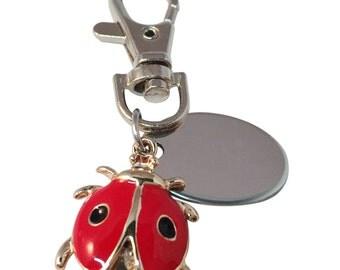Red & Black ladybird keyring, custom engraved personalised in velvet gift pouch
