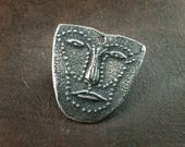 Handcrafted Small Face Pendant. Handmade Pewter Jewelry Components No. 581PD