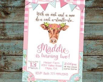Farm Birthday Invitation, Farm Birthday Party, Oink Moo Turning two, 2nd Birthday Party, Flower Cow, Girl Farm Birthday, Digital File DIY