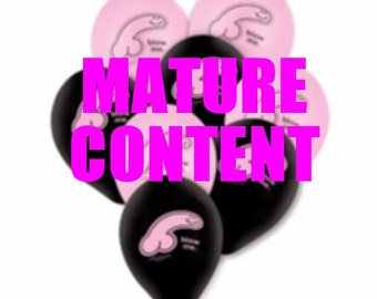Set of 6 Hilarious Latex Pink & Black Penis Balloons~Bachelorette Party~Birthday~Adult Toy Lingerie~Decorations~Pecker~Gay Bachelor~Pride