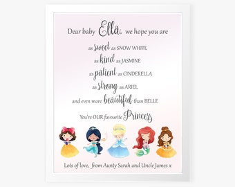 Princess Wall Art - Printable Wall Print - Personalized Gift for New Baby - Nursery Wall Art - Disney Wall Art - Nursery Gift, New Baby Gift
