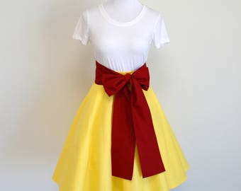 Snow White Fairytale inspired Yellow Circle Skirt and Navy or Red Sash