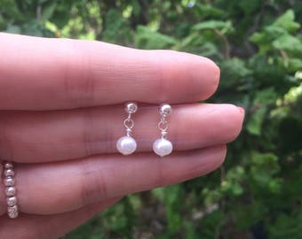 Tiny Freshwater pearl drop earrings Sterling Silver stud small pearl bridal earring pearl bridesmaid earring simple pearl wedding jewellery