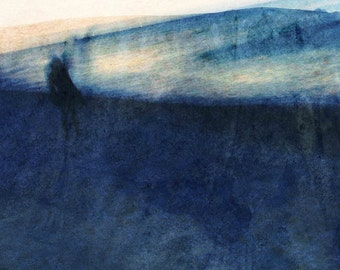The sea figure in blue. Photographic print.