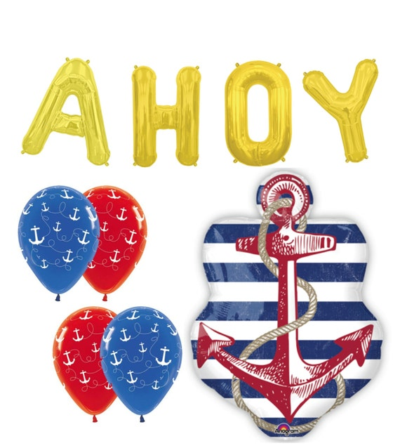 Anchor balloons nautical party baby shower boating ahoy for Anchor balloon decoration