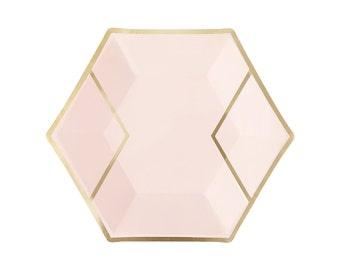 Blush Pink & Gold Paper Plates - Dessert - Hexagon Foil Wedding Bridal Shower Bachelorette Party First Birthday Ideas - Nude Peach One Rose