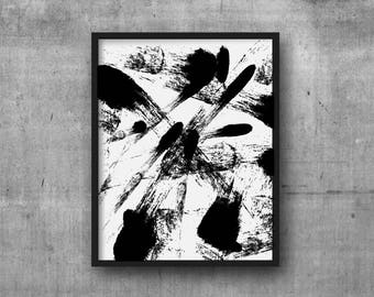 printable digital abstract art instant digital download black white abstract art black brush strokes