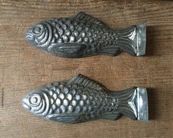 Two, Antique, Tin, Fish Chocolate Molds,  Circa 1920's, Country Kitchen, Country Home