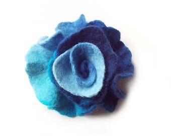 Felted flower brooch felt flower brooch flower felt floral brooch blue turquoise merino wool brooch spring boho women's gift OOAK