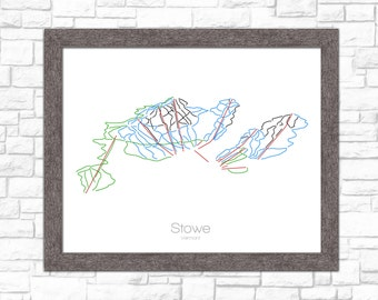 Stowe Map Vermont VT Ski Snowboard Trail Map Art --- Print, Poster, Picture --- Frame, Gift, Present --- Resort, Mountain, Snow, Winter