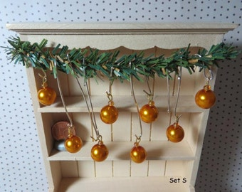 Christmas Tree ornaments - Set S (1:12 scale / Dollhouse miniature)