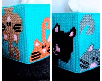 Peeking Cats  Tissue Box  Cover