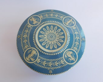 Vintage Round Tin Blue and White Grecian Embossed  Made in Holland
