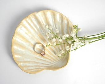 Seashell ring holder, Wedding Ring Holder, Sea Wedding, Ceramic ring holder