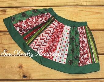 Girl's Skirt - Christmas Print Panels - Twirly Skirt