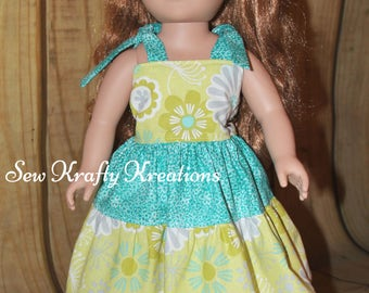 """Doll Dress - Yellow with Flowers and Teal - for 18"""" doll like American Girl"""