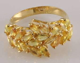 14k Solid Yellow Gold Cluster Ring with Natural Yellow Sapphire Marquise Cut