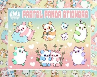 Pastel Panda Sticker Sheets - Kawaii Stickers - ( Cute scrapbook planner ) (Pack of 2)