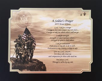 Gift for Army Personalized Print A Soldier's Prayer Veterans Day Birthday Christmas Father's Day Dad Son Husband Brother Daughter US Army