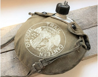 Vintage Boy Scout Official Canteen 1950's Boy Scout Hiking and Camping Gear Aluminum Canteen with Canvas Carrying Case