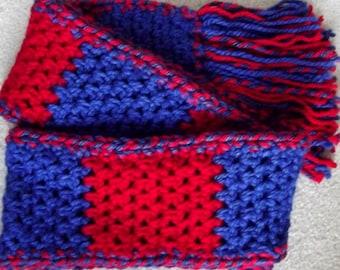 Handmade Crochet Scarf Kansas Jayhawks KU Crimson Red and Blue Basketball Fan Wear March Madness