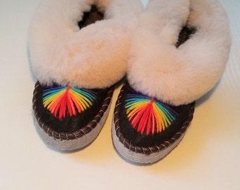 Sheepskin  slippers Ukrainian fur slippers Women moccasins Warm slippers Leather shoes Rainbow embroidery