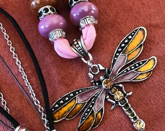 Large Dragonfly on Pink Fabric Necklace. Very Unique!