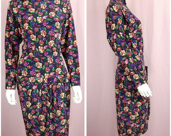 Floral Print Dress Vintage 90s Flower Print Long Sleeve Silk Dress Size 4