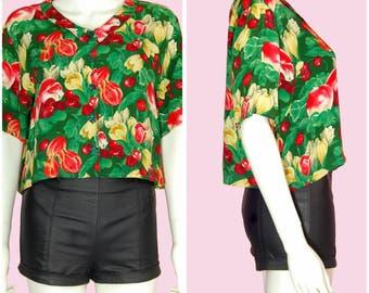 Vintage 80s Top Tropical Print Shirt Floral Print Blouse Size Small