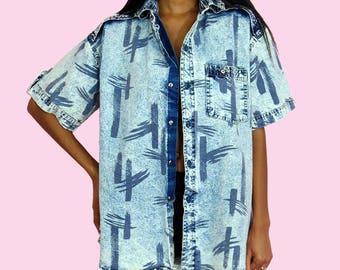 Denim Top Vintage 90s Short Sleeve Denim Shirt L/XL