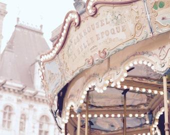 Paris Photography, Vintage Paris Carousel, Paris Nursery Art, Paris Art, Living Room Art, Large Wall Decor