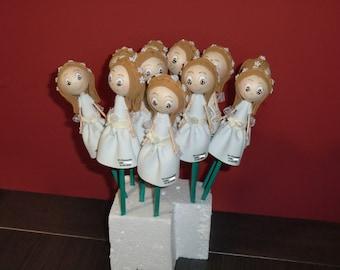 10 x fofulapices girl communion, details invited children