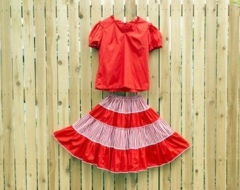 1960's Malco Modes Red and White Square Dancing Outfit with Short Puff Sleeve Blouse and Circle Skirt