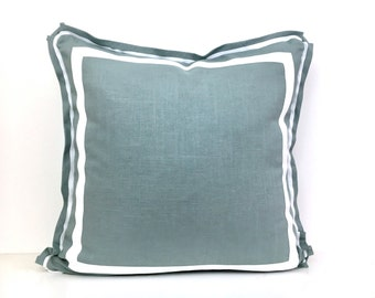 Aqua Linen Pillow Cover with Butterfly Flange