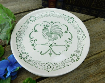 "Set of 4 Vintage Mid Century Provincial  SCIO Green Rooster Weathervane 9 1/4"" Dinner Plates"
